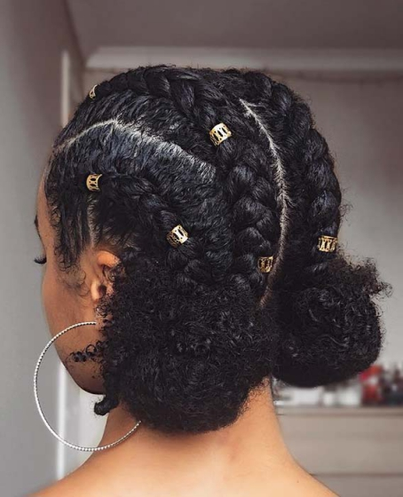 CORNROWS INTO SPACE BUNS Beautiful Natural Hairstyles Best