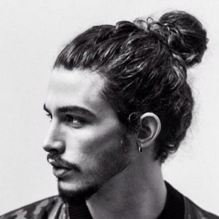 curly hair man bun undercut