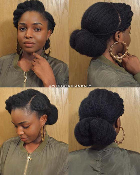 ELEGANT LOW BUN UPDO Beautiful Natural Hairstyles Best