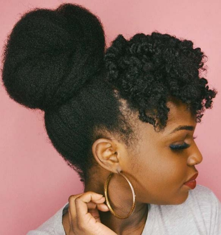 HIGH BUN AND CURLED FRINGE Beautiful Natural Hairstyles Best
