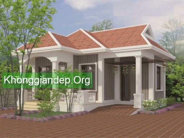 Mẫu nhà trệt 1 tầng mái thái đẹp - Hình 4