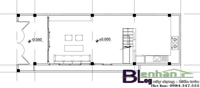 Bản vẽ mặt bằng tầng 1 nhà ống 3 tầng đẹp