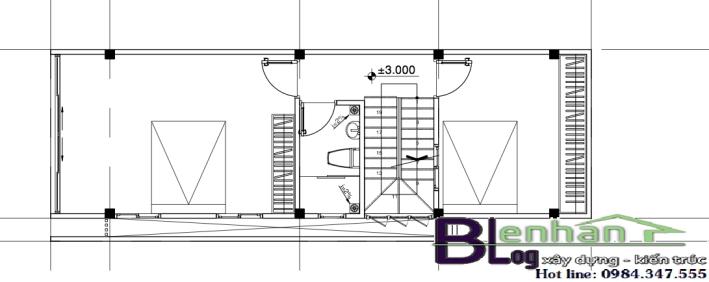 Bản vẽ mặt bằng tầng 2 nhà ống 3 tầng