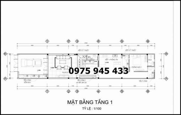 mặt bằng tầng 1 nhà ống 1 trệt 1 lầu 1 tum sân thượng