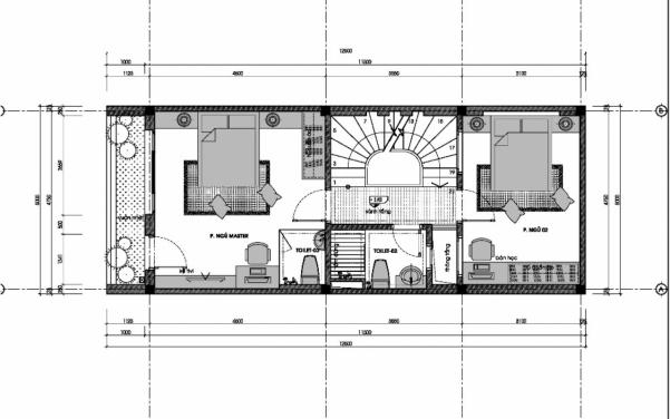Thiết kế nhà ống 3 tầng 60m2 - hình 5