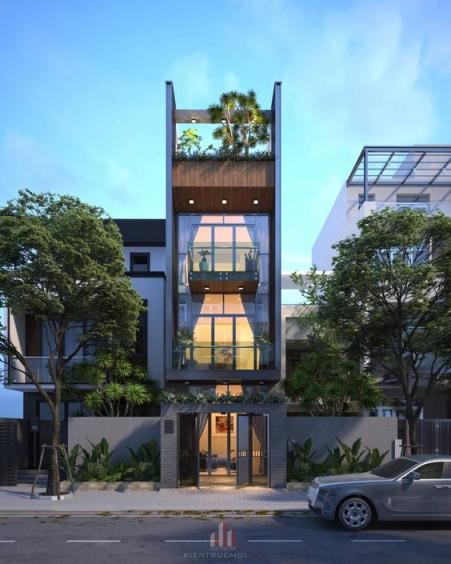 Những thiết kế nhà phố 4 tầng đẹp hiện đại - Mẫu 1