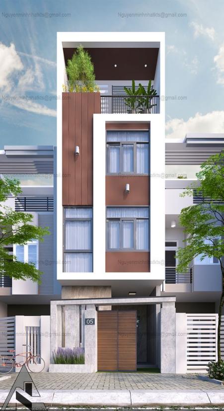 Những thiết kế nhà phố 4 tầng đẹp hiện đại - Mẫu 4