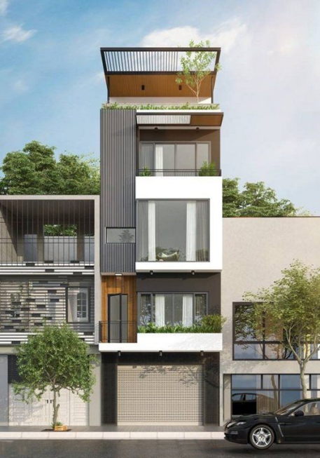 Những thiết kế nhà phố 4 tầng đẹp hiện đại - Mẫu 5