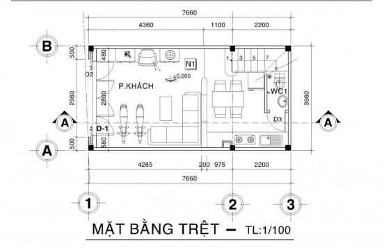 Thiết kế nhà phố nhà phố nhỏ đẹp 4m - Hình 2
