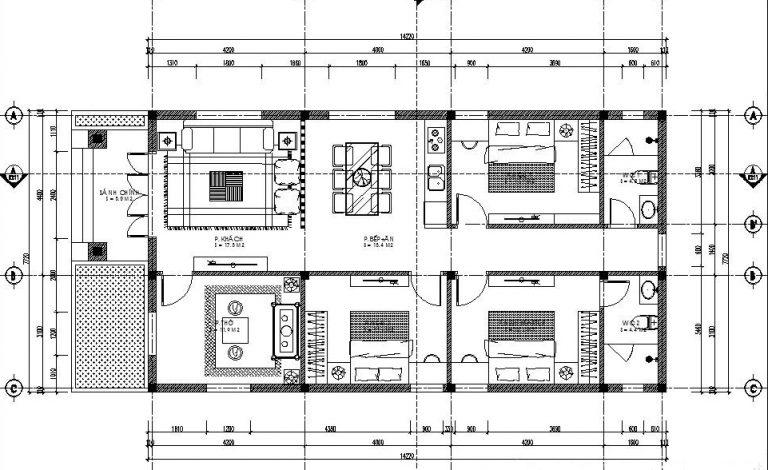 Bản vẽ nhà ống cấp 4 mái thái 3 phòng ngủ 1 phòng thờ