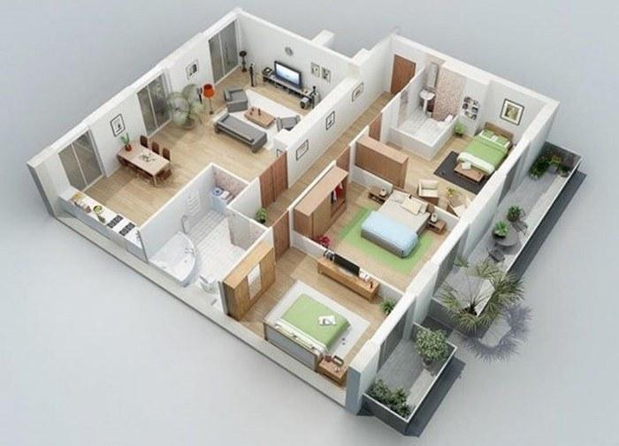 Bản vẽ 3D nhà cấp 4 3 phòng ngủ 1 phòng thờ