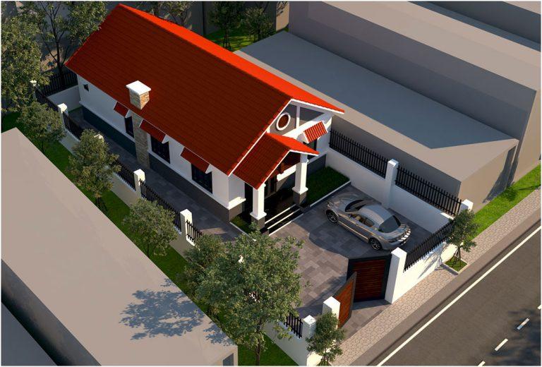 Nhà ống cấp 4 mái thái 3 phòng ngủ 1 phòng thờ