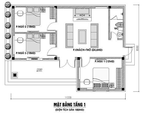 Bản vẽ nhà cấp 4 3 phòng ngủ 1 phòng thờ mái thái 100m2